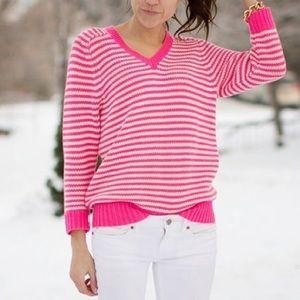 JCrew Hot Pink White Striped Knit Sweater